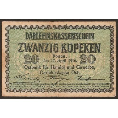 GERMANY 20 Kopeken 1916