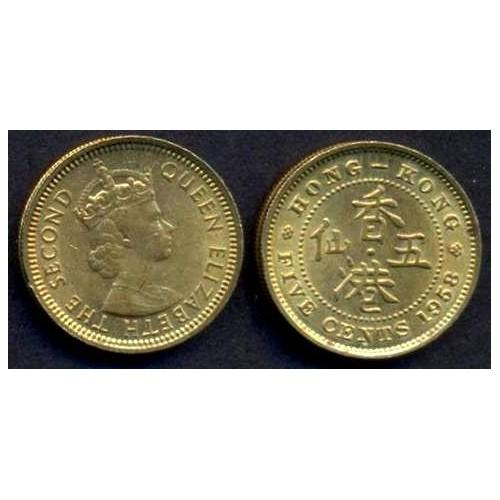 HONG KONG 5 Cents 1958 H