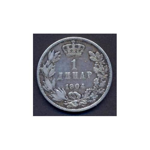 SERBIA 1 Dinar 1904 AG