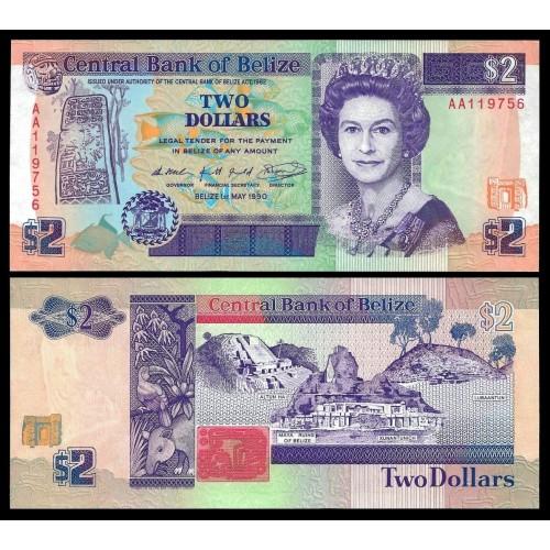 BELIZE 2 Dollars 1990