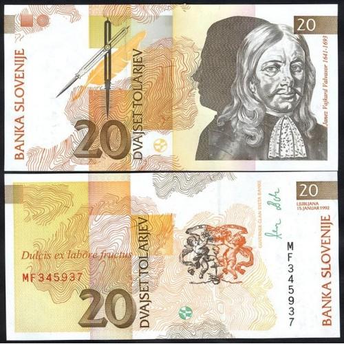 SLOVENIA 20 Tolarjev 1992