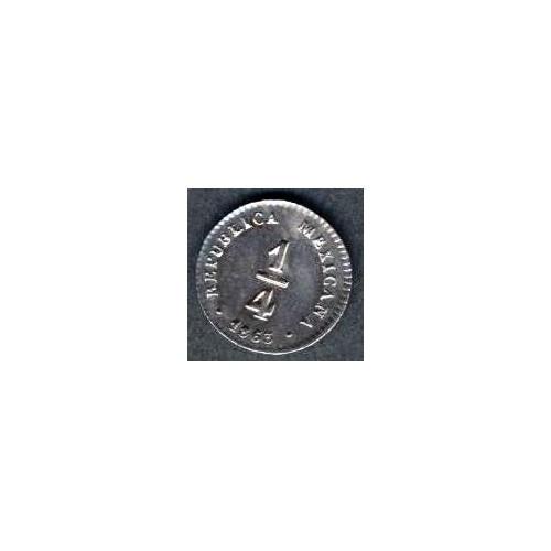 MEXICO 1/4 Real 1863 Mo LR