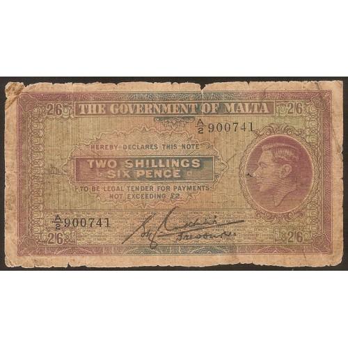 MALTA 2 Shillings 6 Pence 1940