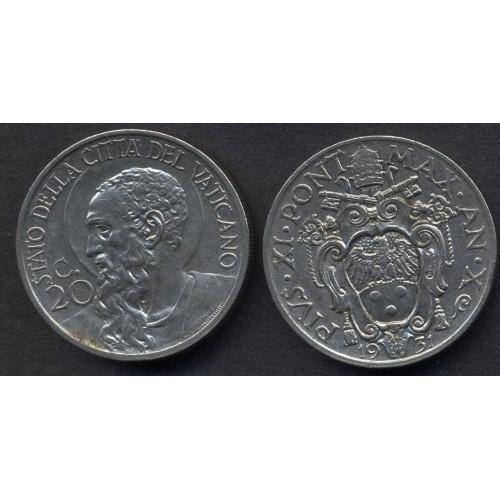 VATICANO 20 Centesimi 1931