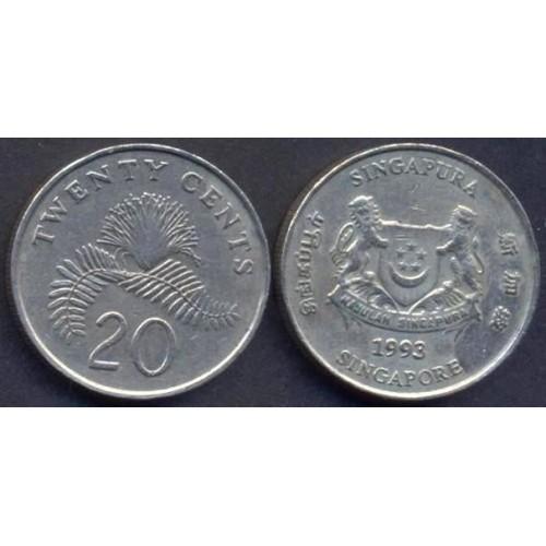 SINGAPORE 20 Cents 1993