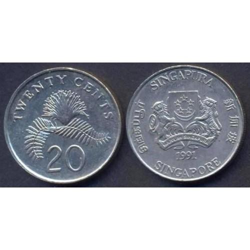 SINGAPORE 20 Cents 1991