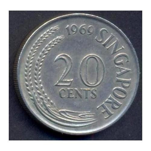 SINGAPORE 20 Cents 1969