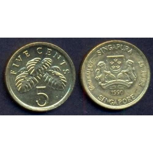 SINGAPORE 5 Cents 1990