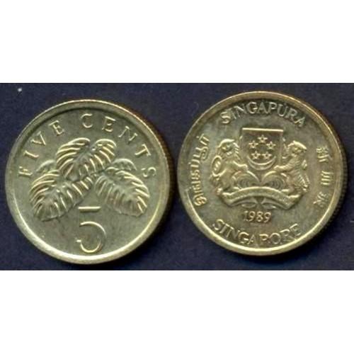 SINGAPORE 5 Cents 1989
