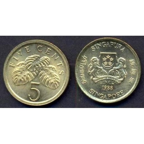 SINGAPORE 5 Cents 1988