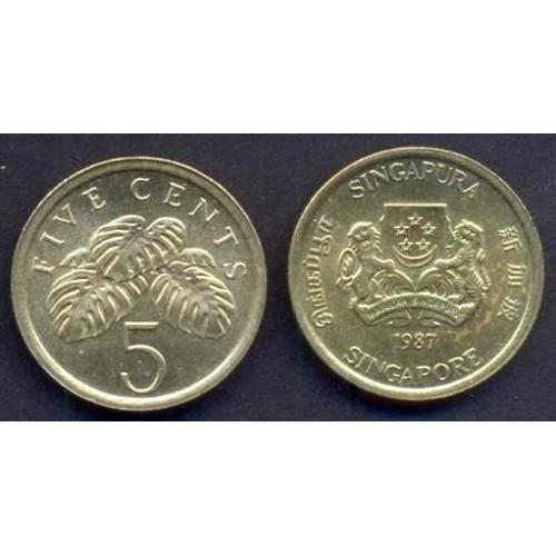 SINGAPORE 5 Cents 1987