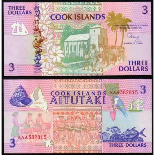 COOK ISLANDS 3 Dollars 1992