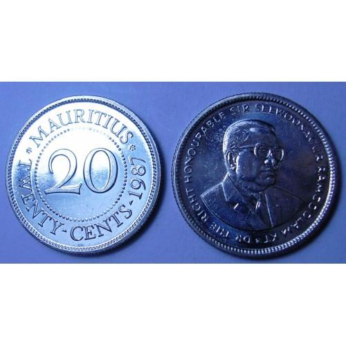 MAURITIUS 20 Cents 1987