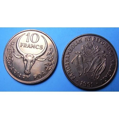 MADAGASCAR 10 Francs 1991 FAO