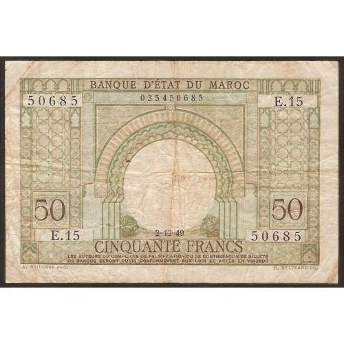 MOROCCO 50 Francs 1949