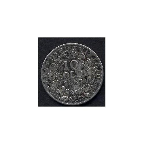 PIO IX 10 Soldi 1867 A.XXII