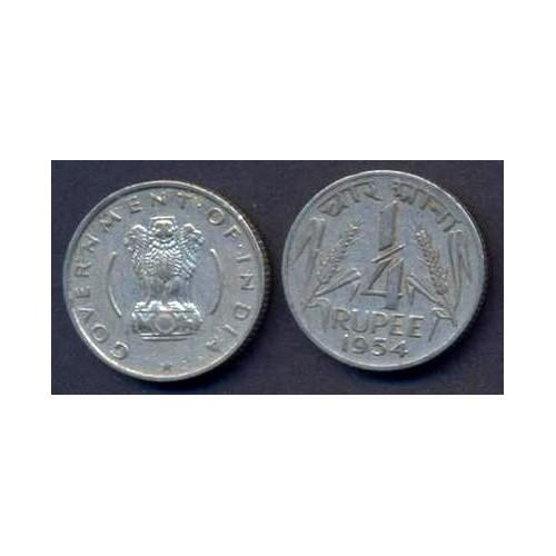 INDIA 1/4 Rupee 1954 C KM 5.3