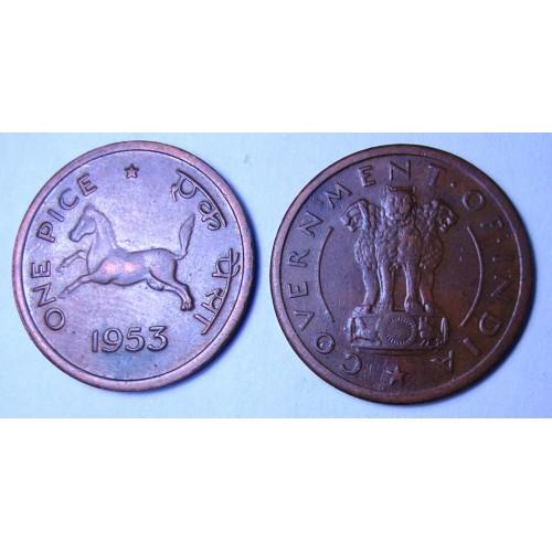 INDIA 1 Pice 1953 C