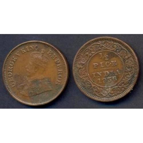 BRITISH INDIA 1/2 Pice 1936