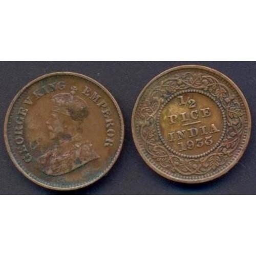 BRITISH INDIA 1/2 Pice 1935