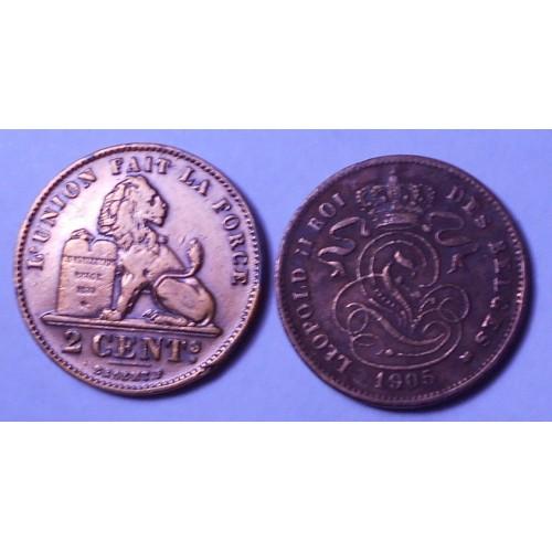 BELGIUM 2 Centimes 1905 Des...