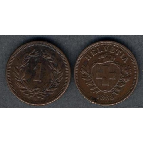 SWITZERLAND 1 Rappen 1868