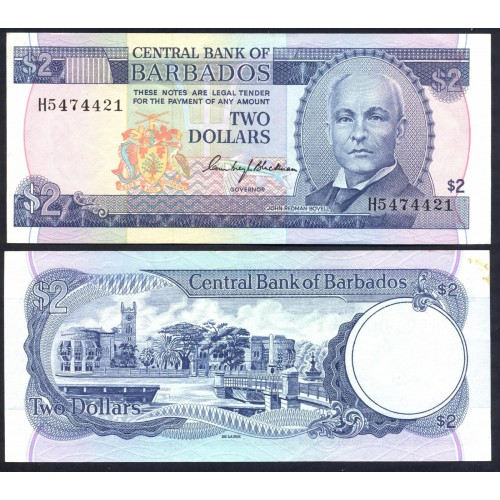 BARBADOS 2 Dollars 1980
