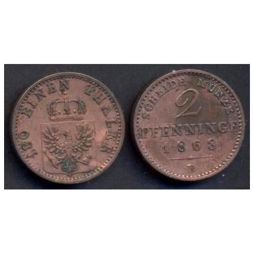 PRUSSIA 2 Pfennig 1868 B