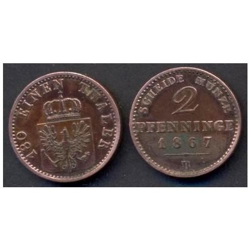 PRUSSIA 2 Pfennig 1867 B