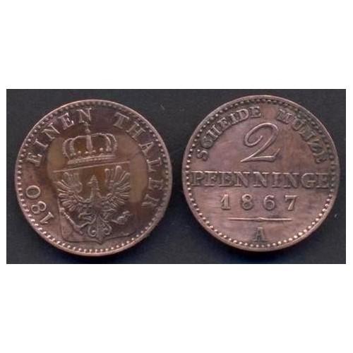 PRUSSIA 2 Pfennig 1867 A