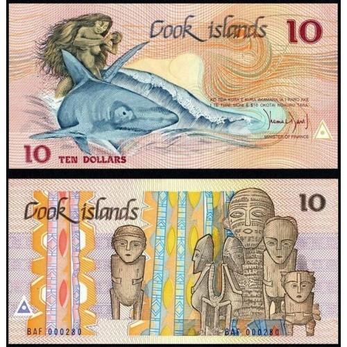 COOK ISLANDS 10 Dollars 1987