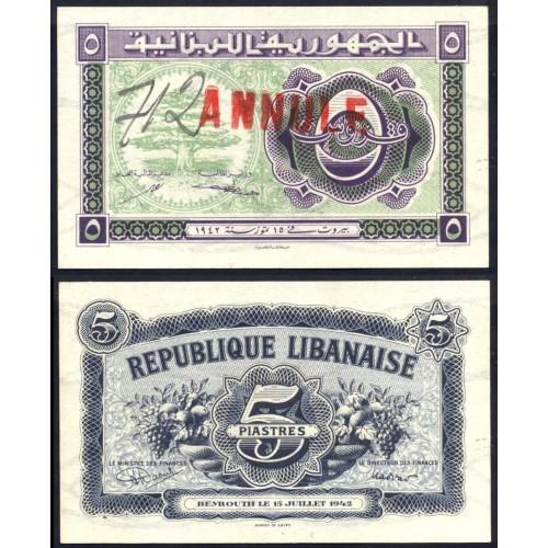 LEBANON 5 Piastres 1942