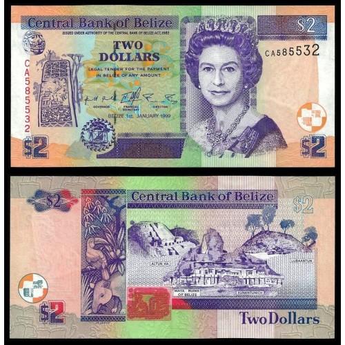 BELIZE 2 Dollars 1999