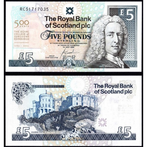 SCOTLAND 5 Pounds 2005...