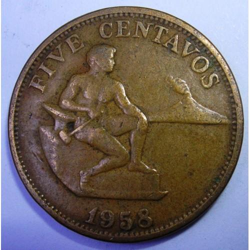 PHILIPPINES 5 Centavos 1958