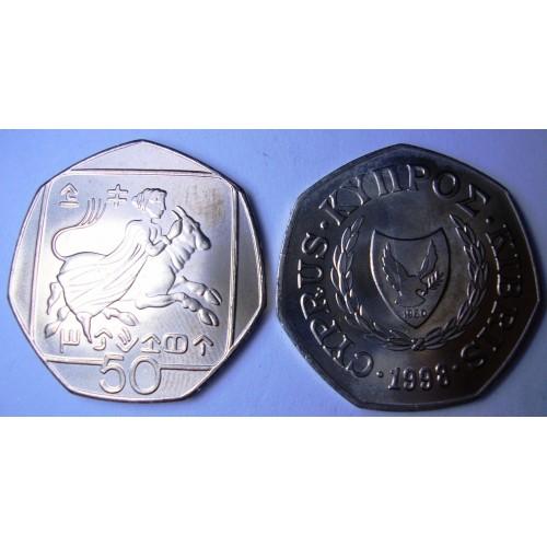 CYPRUS 50 Cents 1998...
