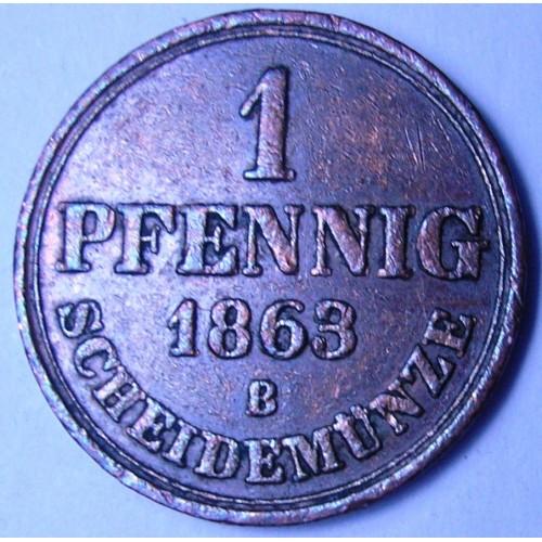 HANNOVER 1 Pfennig 1863 B