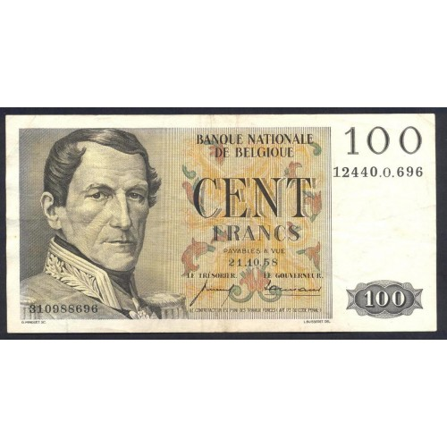 BELGIUM 100 Francs 21.10.1958