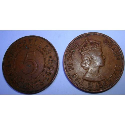 SEYCHELLES 5 Cents 1969