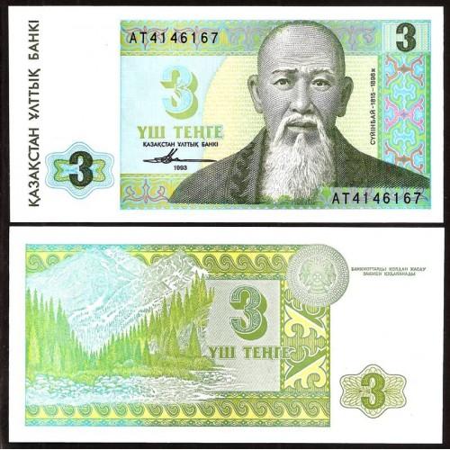 KAZAKHSTAN 3 Tenge 1993