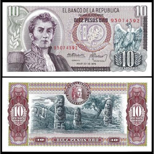 COLOMBIA 10 Pesos Oro 1976