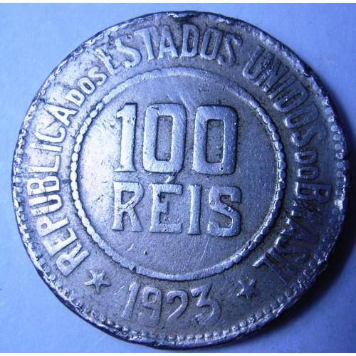 BRAZIL 100 Reis 1923