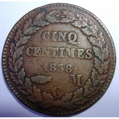 MONACO 5 Centimes 1838...
