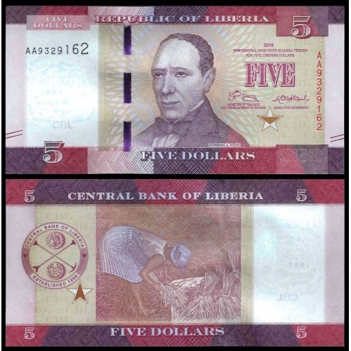 LIBERIA 5 Dollars 2016