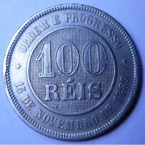 BRAZIL 100 Reis 1889