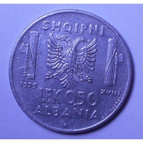 ALBANIA 0,50 Lek 1939 A.M.