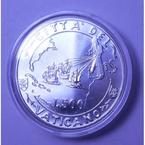 VATICANO 500 Lire 1992 AG...