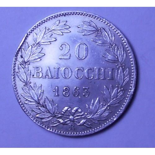 PIO IX 20 Baiocchi 1863 XVIII