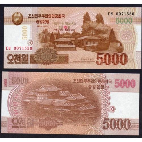 NORTH KOREA 5000 Won 2013...