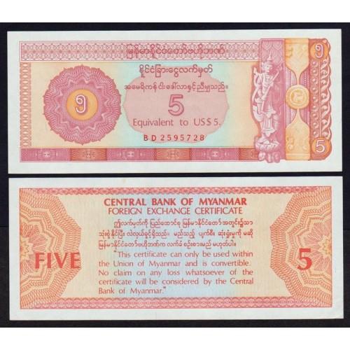 MYANMAR 5 Dollars 1993